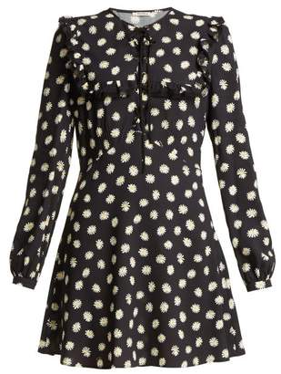 Miu Miu Daisy Print Lace Up Mini Dress - Womens - Black