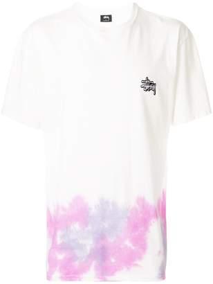 Stussy tie dye print hem T-shirt