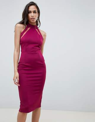 Girl In Mind mesh panel bodycon midi dress