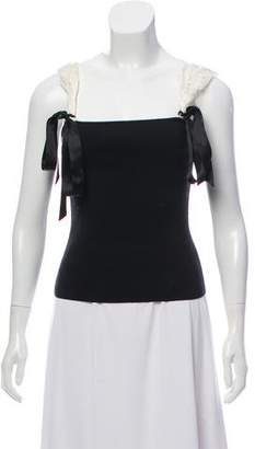 Valentino Lace-Trimmed Sleeveless Top