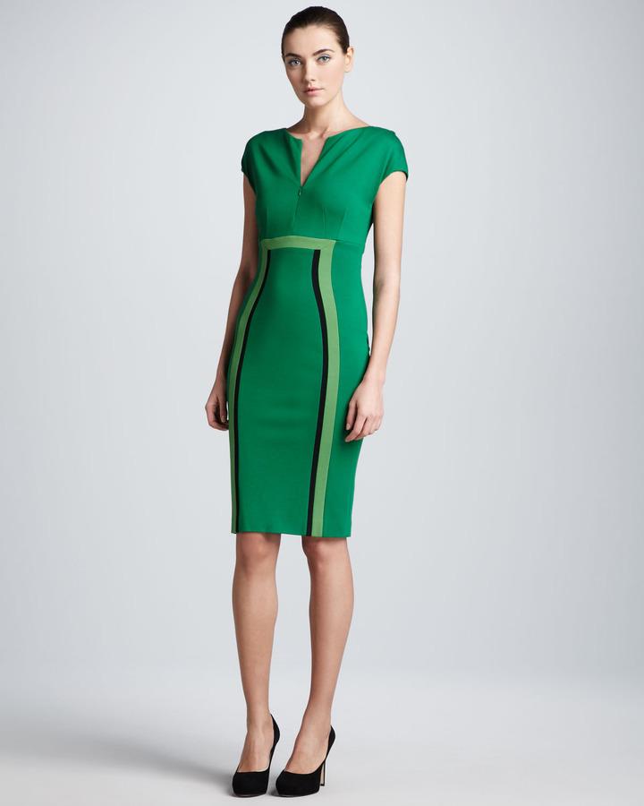 Escada Dondi Zip-Front Jersey Dress, Green