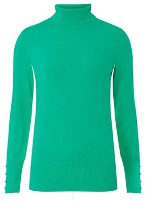 Womens Bright Green Roll Neck Jumper
