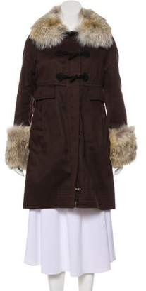 Marc by Marc Jacobs Knee-Length Fur-Trimmed Coat