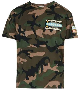 Valentino Beaded Camouflage Print Cotton T Shirt - Mens - Green
