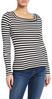 Frame Striped Bateau-Neck Long-Sleeve Top