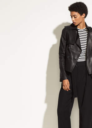 Vince Leather Cropped Trench