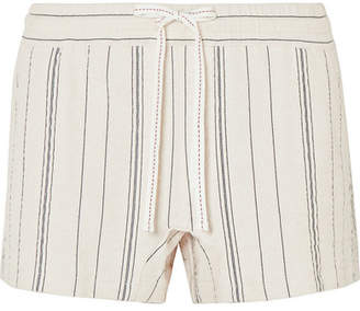 See by Chloe Striped Cotton-blend Canvas Shorts - White