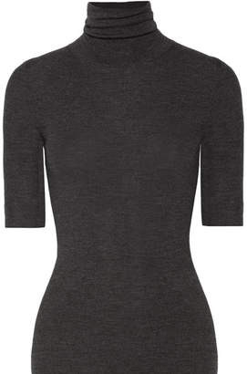 Theory Leenda Ribbed Merino Wool Turtleneck Top - Anthracite