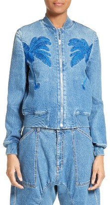 Women's Stella Mccartney Palm Tree Denim Bomber Jacket $1,295 thestylecure.com