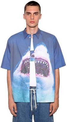 MSGM Shark Print Cotton Poplin Shirt