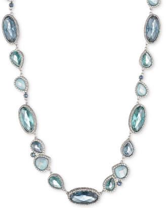 "Jenny Packham Silver-Tone Pave & Stone Collar Necklace, 16"" + 2"" extender"
