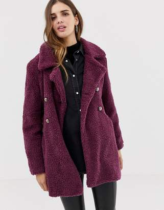 QED London double breasted maxi teddy coat