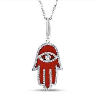 18k White Gold 0.30 Ct. Natural Diamond & Orange Enamel Hamsa Hand Of Fatima Pendant