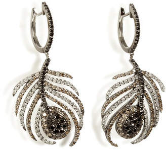 Nikos Koulis Black Rhodium/Diamond Paradise Peacock Earrings