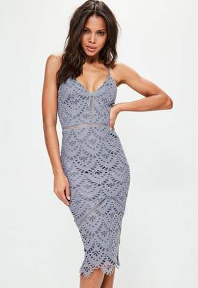 Missguided Blue Lace Ladder Detail Midi Dress