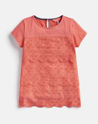 Joules BRIGHT CORAL Brodie Broderie Detailed Top 3-12 Yr Size 3yr