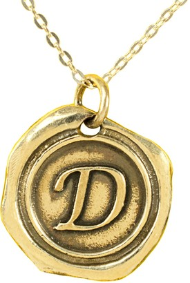 24K Yellow Gold-Plated Sterling Initial Pendant with Chain