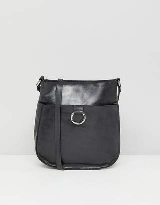 Asos Leather Vintage Cross Body Bag With Ring Detail