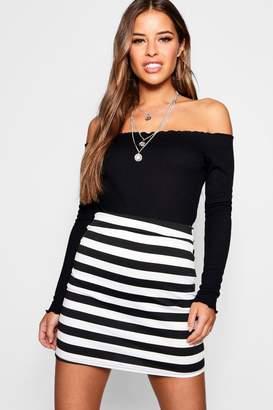 boohoo Petite Wide Stripe A Line Skirt