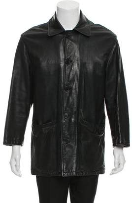 Barneys New York Barney's New York Leather Button-Up Coat