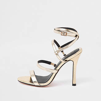 River Island Gold strappy skinny heel sandals