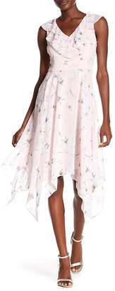 Kensie Floral Print Sharkbite Hem Dress