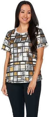 C. Wonder Sequin Plaid Short Sleeve Top