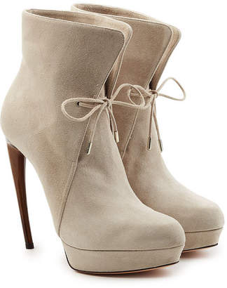 Alexander McQueen Leather Ankle Boots with Stiletto Heel