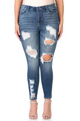 Cello Juniors' Plus Size Dark Wash Super Destroyed Cropped Ankle Skinny Jean