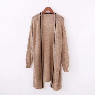 at Goodnight Macaroon · Goodnight Macaroon  Kitty  Brown Contrast Line Loose-knit  Cardigan b08bca591