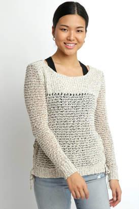 BB Dakota Long Sleeve Two Tone Lace Up Sweater