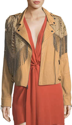 Haute Hippie Oakridge Moto Jacket with Embellished Fringe Detail