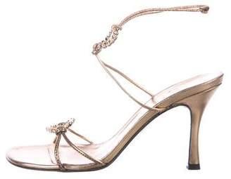 Stuart Weitzman Embellished Ankle-Strap Sandals