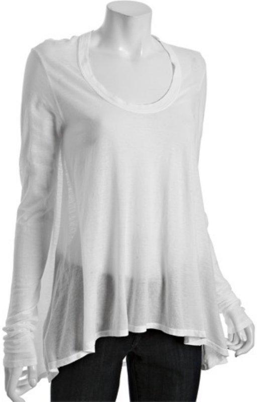 Wilt white jersey scoopneck hi-low tunic t-shirt