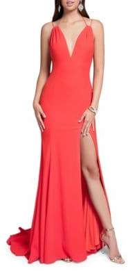 Terani Couture Glamour by Front Slit Crepe Gown