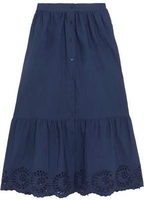 Mes Demoiselles Clem Broderie Anglaise-Trimmed Ruffled Cotton-Poplin Midi Skirt
