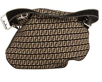 d9311cb86088 Fendi Black Leather Zucca Saddle Bag (4057006)