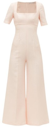 Emilia Wickstead Audie Square Neck Sateen Crepe Jumpsuit - Womens - Light Pink