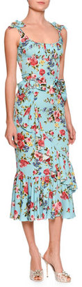 Dolce & Gabbana Floral Ruffled Sleeveless Dress, Blue Pattern $4,295 thestylecure.com