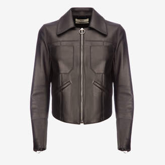 Bally Leather Fitted Trucker Jacket
