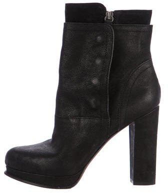 Vera Wang Leather Pointed-Toe Ankle Boots