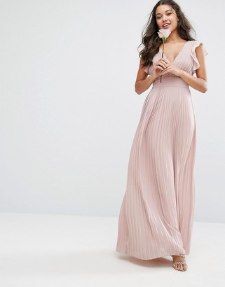 TFNC WEDDING V Front Maxi Dress With Frill Sleeves $83 thestylecure.com