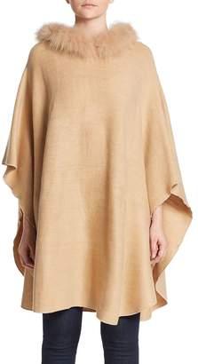Adrienne Landau Women's Hooded Fox Fur Trim Poncho