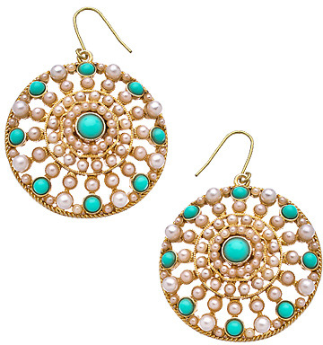 Carolee White Pearl Turquoise Round Majestic Earrings