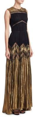 J. Mendel Pleated Metallic Silk Gown