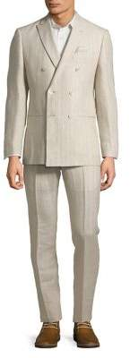 Tallia Orange Striped Double-Breasted Linen Suit