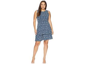 MICHAEL Michael Kors Size Woodblock Sleeves Flounce Dress