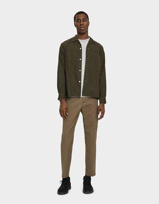 Beams Open Collar Print Corduroy Shirt in Olive