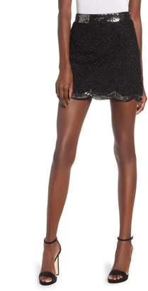 Endless Rose Sequin Scallop Hem Miniskirt