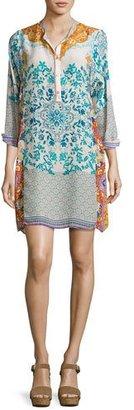 Johnny Was Ellyonora Half-Placket Floral Georgette Dress, Multi, Plus Size $315 thestylecure.com